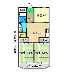 コーポ田中2号館[3階]の間取り