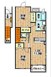 福岡県北九州市小倉南区葛原元町2丁目の賃貸アパートの間取り