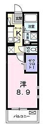 JR山陽本線 横川駅 徒歩5分の賃貸マンション 1階1Kの間取り