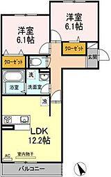 広島県福山市大門町大門の賃貸アパートの間取り