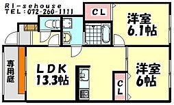 大阪府泉大津市宮町の賃貸アパートの間取り