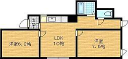 Osaka Metro谷町線 千林大宮駅 徒歩14分の賃貸マンション 2階2DKの間取り