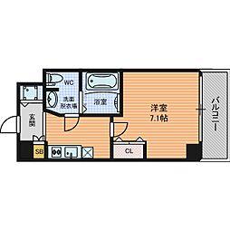 Osaka Metro御堂筋線 本町駅 徒歩3分の賃貸マンション 6階1Kの間取り