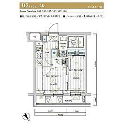JR埼京線 北赤羽駅 徒歩13分の賃貸マンション 1階2Kの間取り