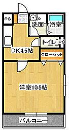ドミール参番館2[1-H号室]の間取り