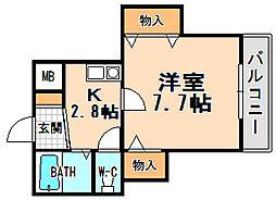 兵庫県伊丹市西台4丁目の賃貸アパートの間取り