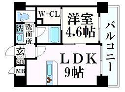阪急神戸本線 春日野道駅 徒歩7分の賃貸マンション 8階1LDKの間取り