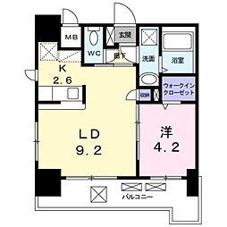 JR鹿児島本線 箱崎駅 バス12分 オロシアム下車 徒歩4分の賃貸マンション 8階1LDKの間取り