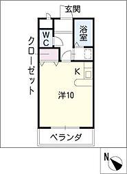 プラシードマンション桃山[1階]の間取り