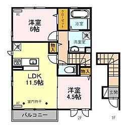 埼玉県川越市小ケ谷の賃貸アパートの間取り