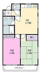 田上ハイツ[2階]の間取り