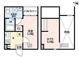 愛知県名古屋市守山区新城の賃貸アパートの間取り