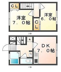 香川県丸亀市土器町西6丁目の賃貸アパートの間取り