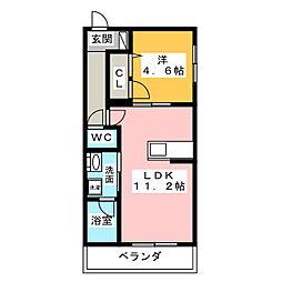 仮称)ベレオ豊田元城町 1階1LDKの間取り