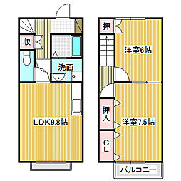 愛知県名古屋市中川区伏屋2丁目の賃貸アパートの間取り