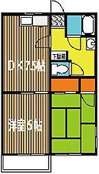 東京都昭島市宮沢町2丁目の賃貸アパートの間取り
