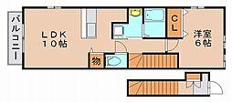 アダージョ美野島[2階]の間取り