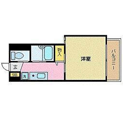 沖縄都市モノレール 赤嶺駅 徒歩9分の賃貸マンション 3階1Kの間取り