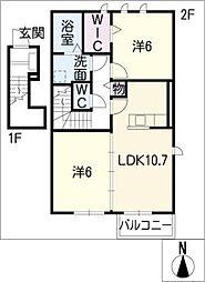 クリムゾンパレス I[2階]の間取り
