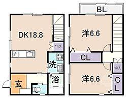 [テラスハウス] 大阪府八尾市南本町4丁目 の賃貸【/】の間取り