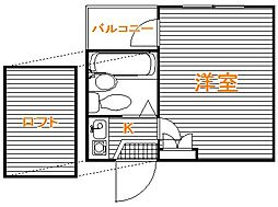 東京都板橋区仲町の賃貸アパートの間取り