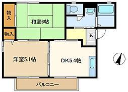カーサボニータA 201[2階]の間取り