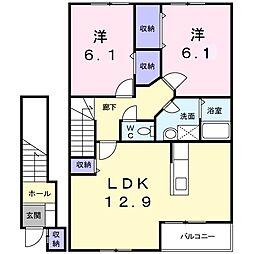 豊岡市八社宮 メゾン パストラルA[2階]の間取り
