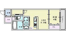 阪急宝塚本線 庄内駅 徒歩10分の賃貸アパート 3階1LDKの間取り