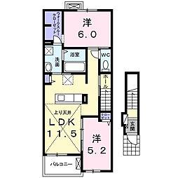 愛知県岡崎市大和町字西之坊の賃貸アパートの間取り