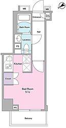 東急目黒線 武蔵小山駅 徒歩3分の賃貸マンション 4階1Kの間取り