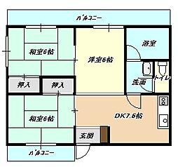 福岡県北九州市小倉北区熊本2丁目の賃貸マンションの間取り