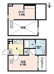 愛知県名古屋市北区真畔町の賃貸アパートの間取り