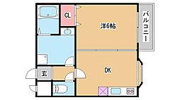 兵庫県神戸市垂水区旭が丘3丁目の賃貸アパートの間取り