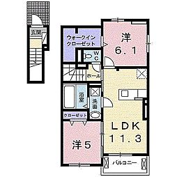 田尻町アパート[2階]の間取り
