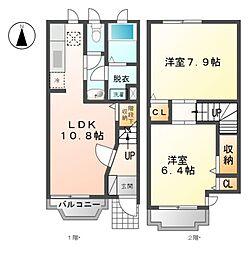 愛知県清須市朝日弥生の賃貸アパートの間取り
