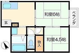 ハイツ西田[2階]の間取り