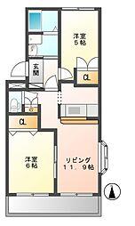 岐阜県加茂郡川辺町比久見の賃貸アパートの間取り