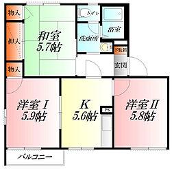 コーポ愛B棟[2階]の間取り
