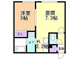 immeuble(イムーブル) 2階1LDKの間取り