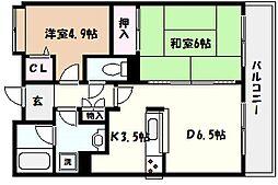 兵庫県西宮市樋之池町の賃貸マンションの間取り