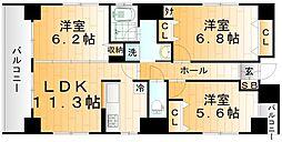 クレール浅草 6階3LDKの間取り