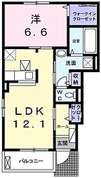 メイベリーナ2 1階1LDKの間取り
