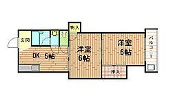 兵庫県神戸市兵庫区熊野町2丁目の賃貸マンションの間取り