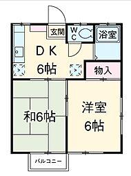やよい荘B[2階]の間取り
