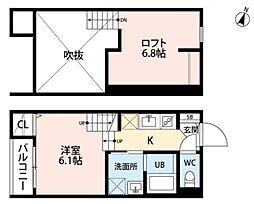 JR鹿児島本線 九産大前駅 徒歩13分の賃貸アパート 1階1Kの間取り