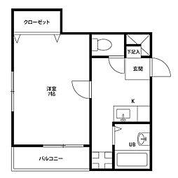 愛知県名古屋市昭和区川名本町5丁目の賃貸アパートの間取り