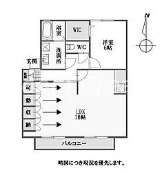 徳島県徳島市南二軒屋町新開の賃貸アパートの間取り