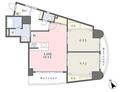 JR鹿児島本線 小倉駅 徒歩6分の賃貸マンション 9階2LDKの間取り