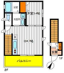 東京都日野市日野本町1丁目の賃貸アパートの間取り