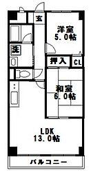 ドミール木川東[402号室]の間取り